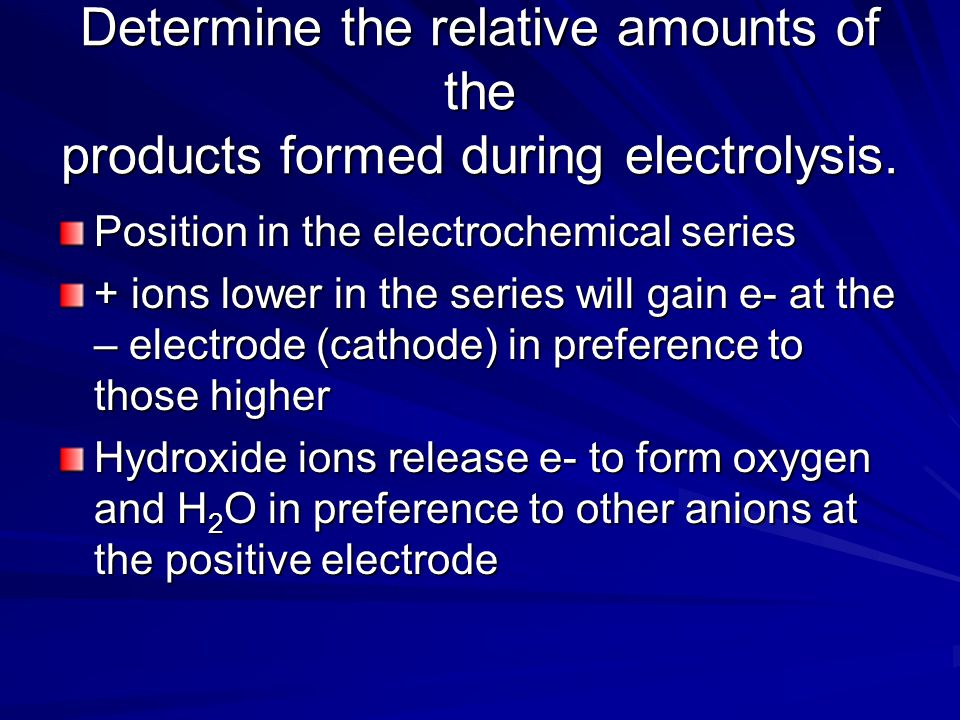 Electrolysis of NaCl (aq) - electrode H 2 + electrode dilute OH - to O 2 conc Cl - to Cl 2 Write half reactions Do question 13