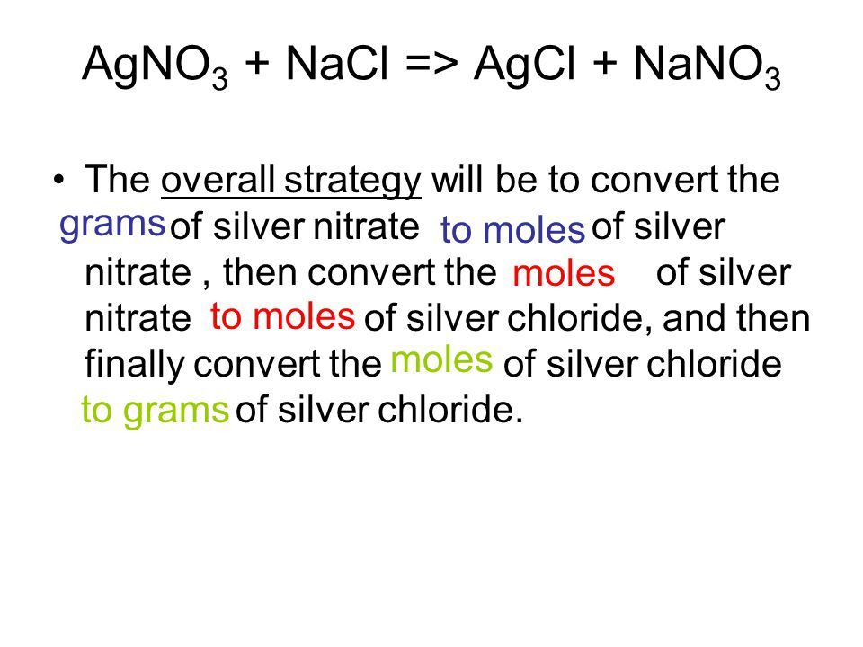 AgNO 3 + NaCl => AgCl + NaNO 3 The overall strategy will be to convert the of silver nitrate of silver nitrate, then convert the of silver nitrate of silver chloride, and then finally convert the of silver chloride of silver chloride.