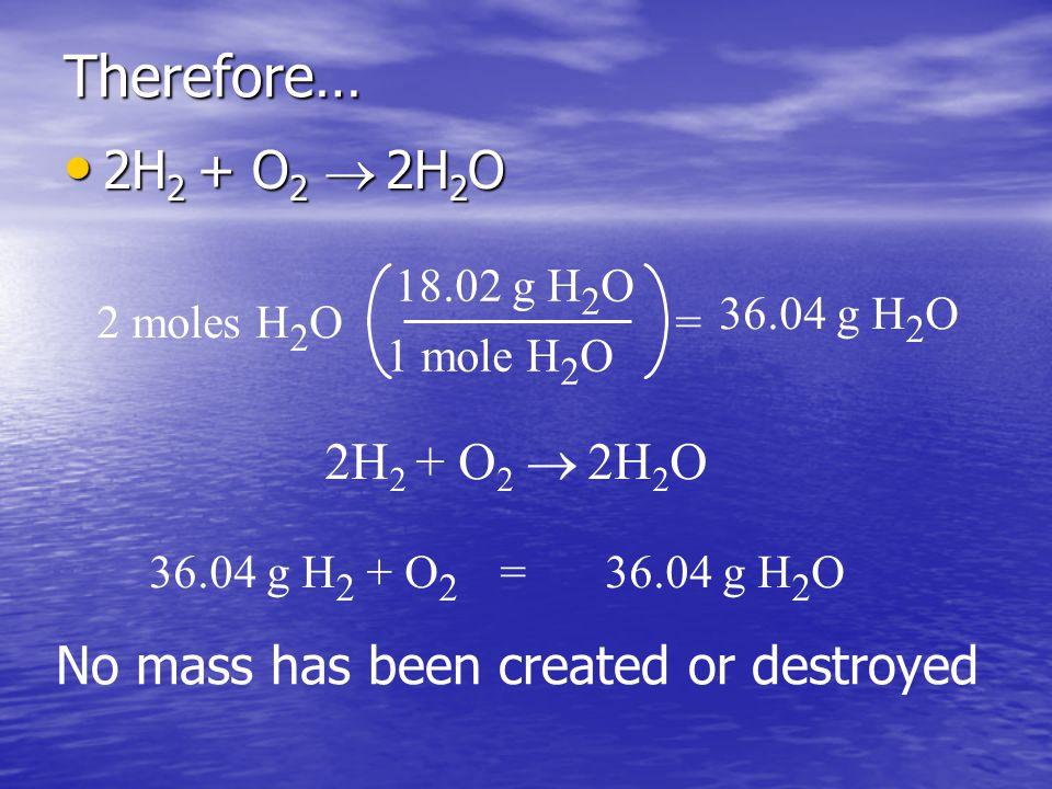 Therefore… 2H 2 + O 2   2H 2 O 2H 2 + O 2   2H 2 O 2 moles H 2 O 18.02 g H 2 O 1 mole H 2 O = 36.04 g H 2 O 2H 2 + O 2   2H 2 O 36.04 g H 2 + O 2 =36.04 g H 2 O No mass has been created or destroyed