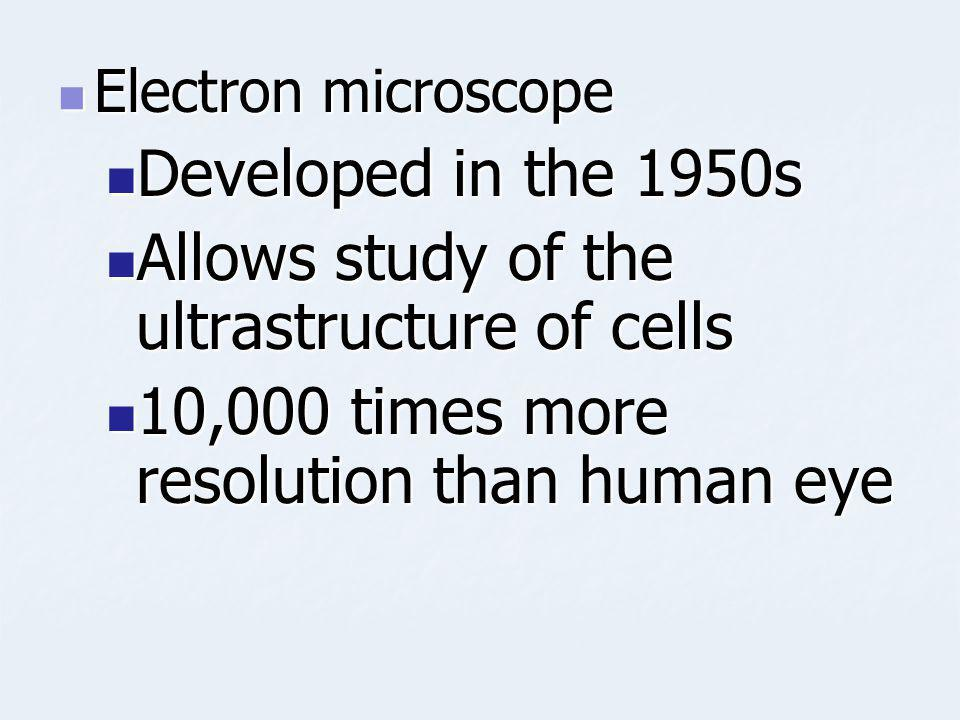 Electron microscope Electron microscope Developed in the 1950s Developed in the 1950s Allows study of the ultrastructure of cells Allows study of the