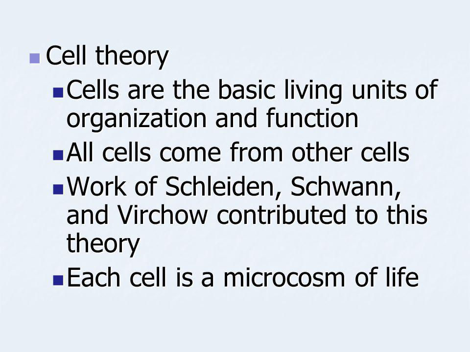 Cell theory Cell theory Cells are the basic living units of organization and function Cells are the basic living units of organization and function Al