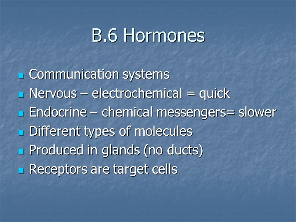 B.6 Hormones Communication systems Communication systems Nervous – electrochemical = quick Nervous – electrochemical = quick Endocrine – chemical mess
