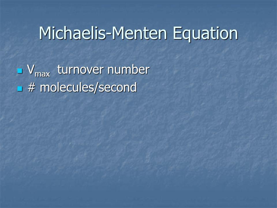Michaelis-Menten Equation V max turnover number V max turnover number # molecules/second # molecules/second