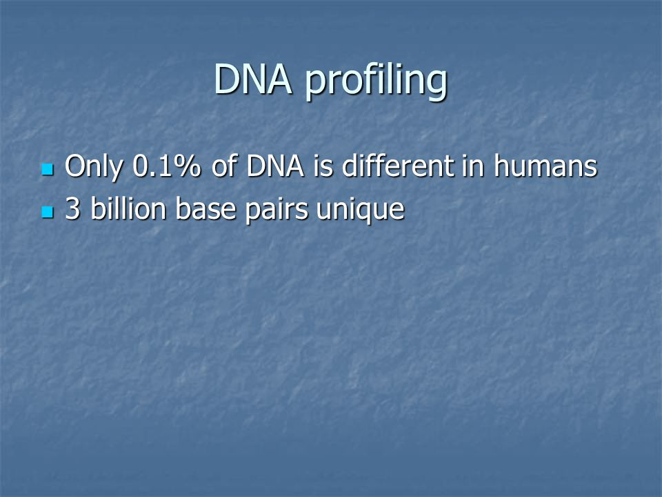 DNA profiling Only 0.1% of DNA is different in humans Only 0.1% of DNA is different in humans 3 billion base pairs unique 3 billion base pairs unique