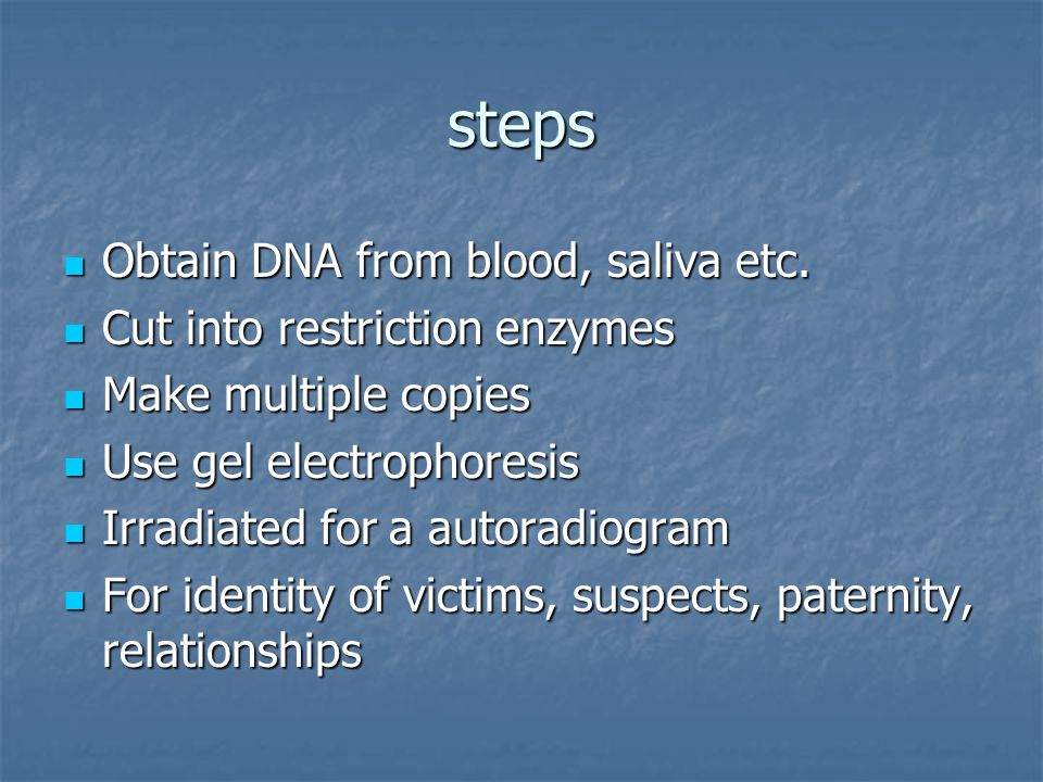 steps Obtain DNA from blood, saliva etc.Obtain DNA from blood, saliva etc.