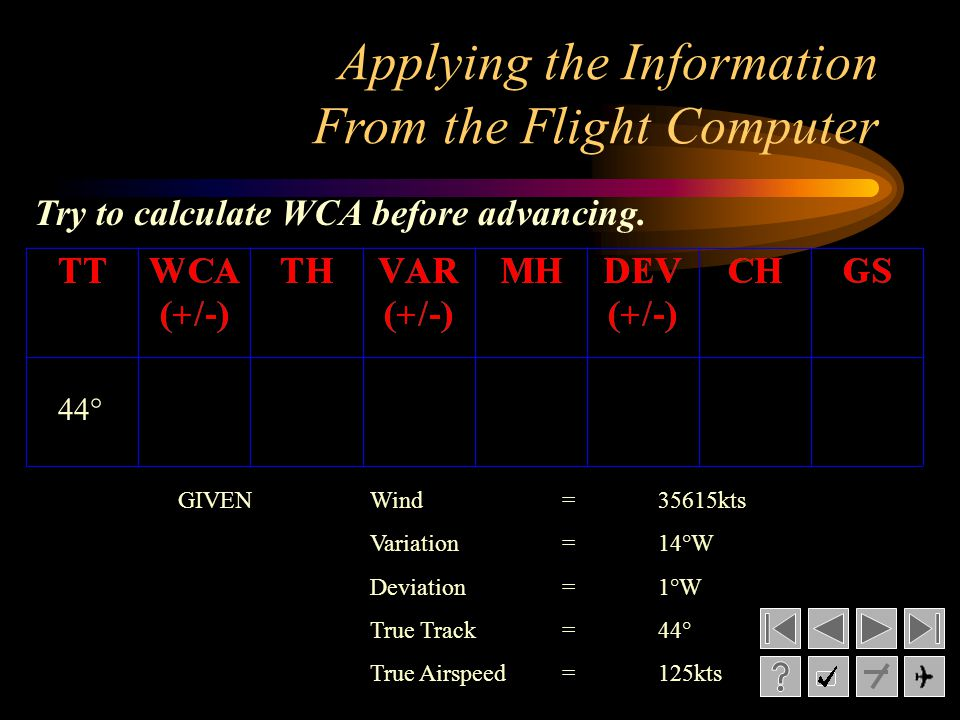 Applying the Information From the Flight Computer 44° GIVENWind= 35615kts Variation= 14°W Deviation= 1°W True Track= 44° True Airspeed=125kts Try to calculate WCA before advancing.