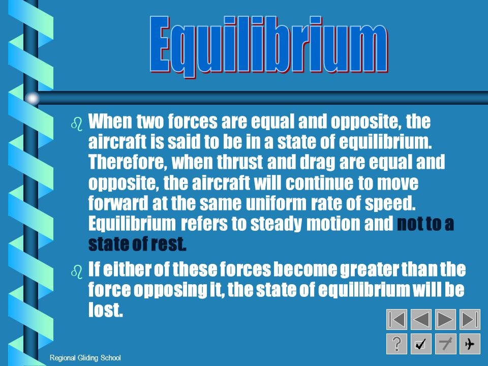 Regional Gliding School b b When two forces are equal and opposite, the aircraft is said to be in a state of equilibrium.