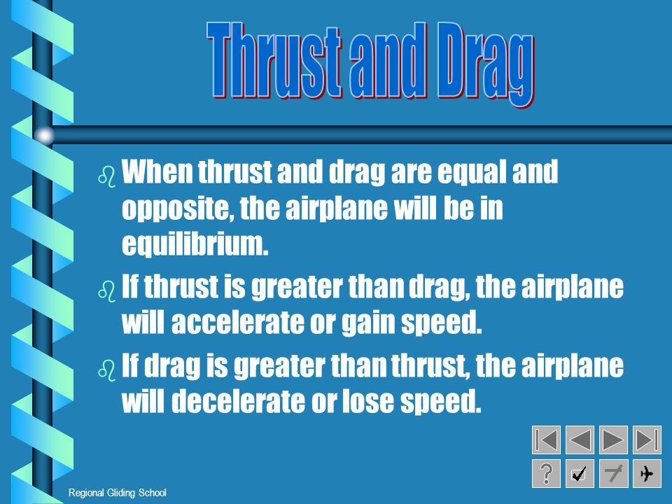 Regional Gliding School b b When thrust and drag are equal and opposite, the airplane will be in equilibrium.
