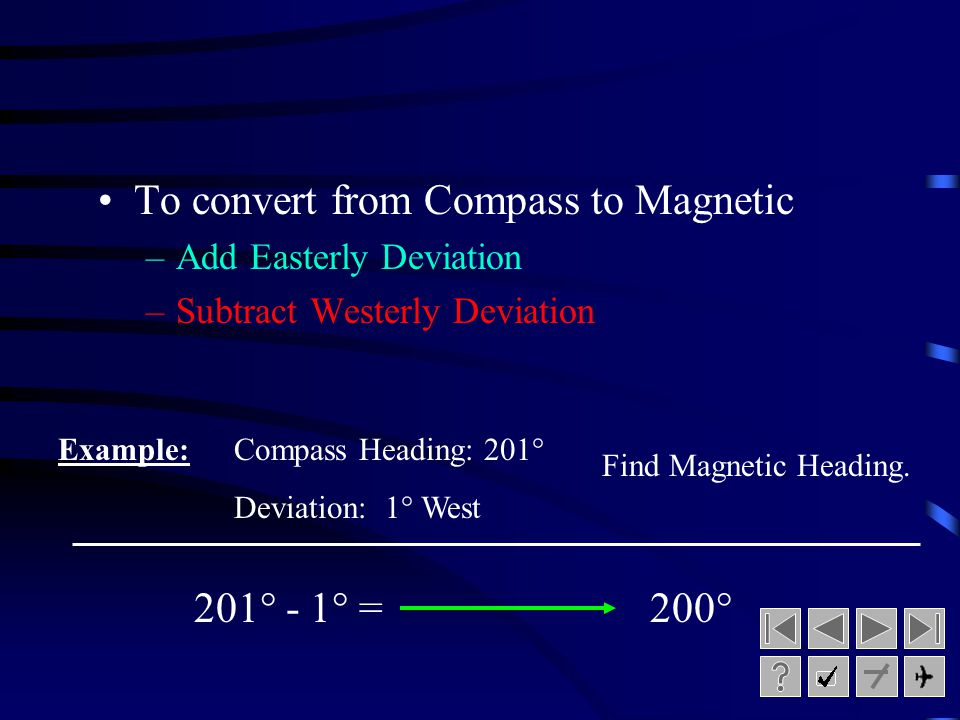 Converting between Magnetic and Compass Heading To convert from Magnetic to Compass: –Add Westerly Deviation –Subtract Easterly Deviation 050° + 2° =0