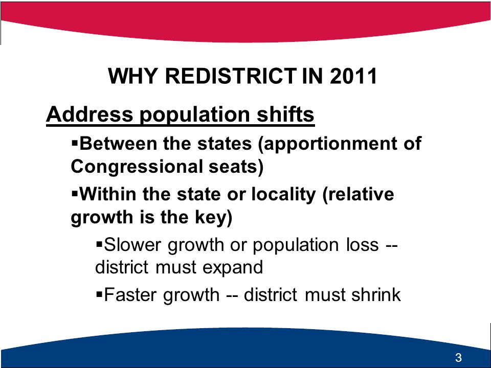 4 WHY REDISTRICT IN 2011 State and Federal Laws Mandate Redistricting Federal Law Requirements  U.S.