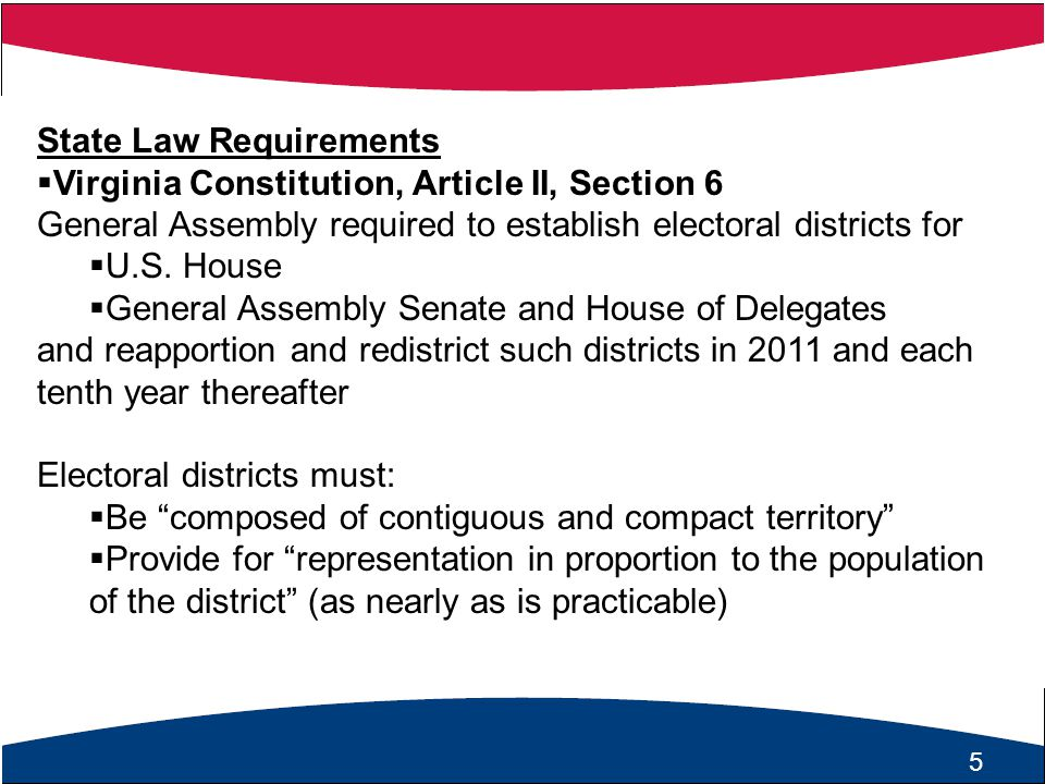16 Balancing of Redistricting Factors  In redistricting, the General Assembly is required to satisfy a number of state and federal constitutional and statutory provisions...