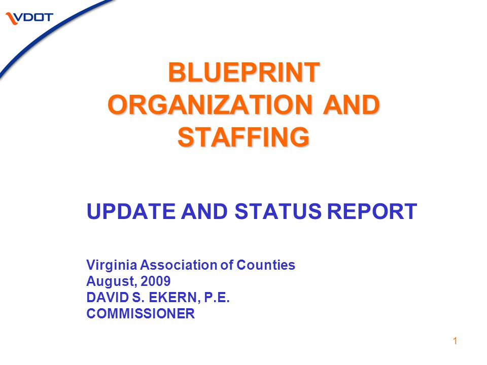 1 BLUEPRINT ORGANIZATION AND STAFFING UPDATE AND STATUS REPORT Virginia Association of Counties August, 2009 DAVID S.