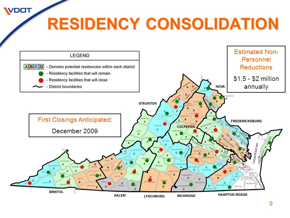 9 RESIDENCY CONSOLIDATION Estimated Non- Personnel Reductions $1.5 - $2 million annually First Closings Anticipated: December 2009