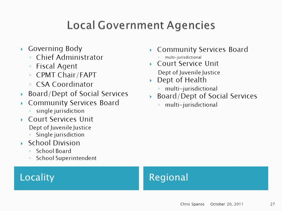 LocalityRegional  Governing Body ◦ Chief Administrator ◦ Fiscal Agent ◦ CPMT Chair/FAPT ◦ CSA Coordinator  Board/Dept of Social Services  Community Services Board ◦ single jurisdiction  Court Services Unit Dept of Juvenile Justice ◦ Single jurisdiction  School Division ◦ School Board ◦ School Superintendent  Community Services Board ◦ multi-jurisdictional  Court Service Unit Dept of Juvenile Justice  Dept of Health ◦ multi-jurisdictional  Board/Dept of Social Services ◦ multi-jurisdictional October 20, 2011 Chris Spanos27