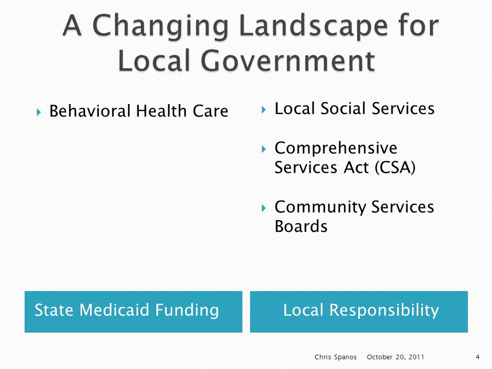 State Medicaid FundingLocal Responsibility  Behavioral Health Care  Local Social Services  Comprehensive Services Act (CSA)  Community Services Boards October 20, 2011 Chris Spanos4