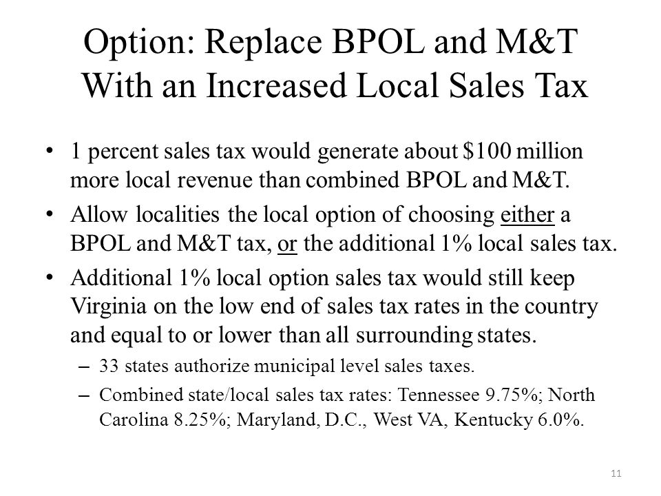 Option: Replace BPOL and M&T With an Increased Local Sales Tax 1 percent sales tax would generate about $100 million more local revenue than combined BPOL and M&T.