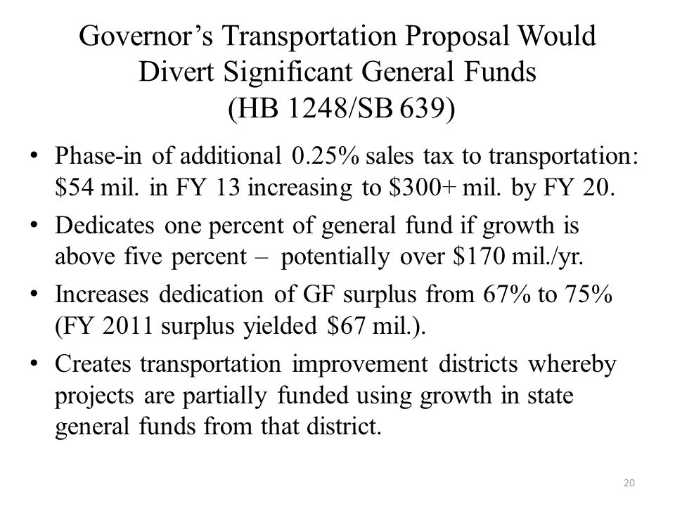 Governor's Transportation Proposal Would Divert Significant General Funds (HB 1248/SB 639) Phase-in of additional 0.25% sales tax to transportation: $54 mil.