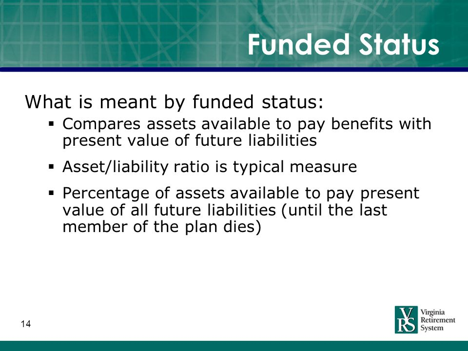 14 Funded Status What is meant by funded status:  Compares assets available to pay benefits with present value of future liabilities  Asset/liability ratio is typical measure  Percentage of assets available to pay present value of all future liabilities (until the last member of the plan dies)