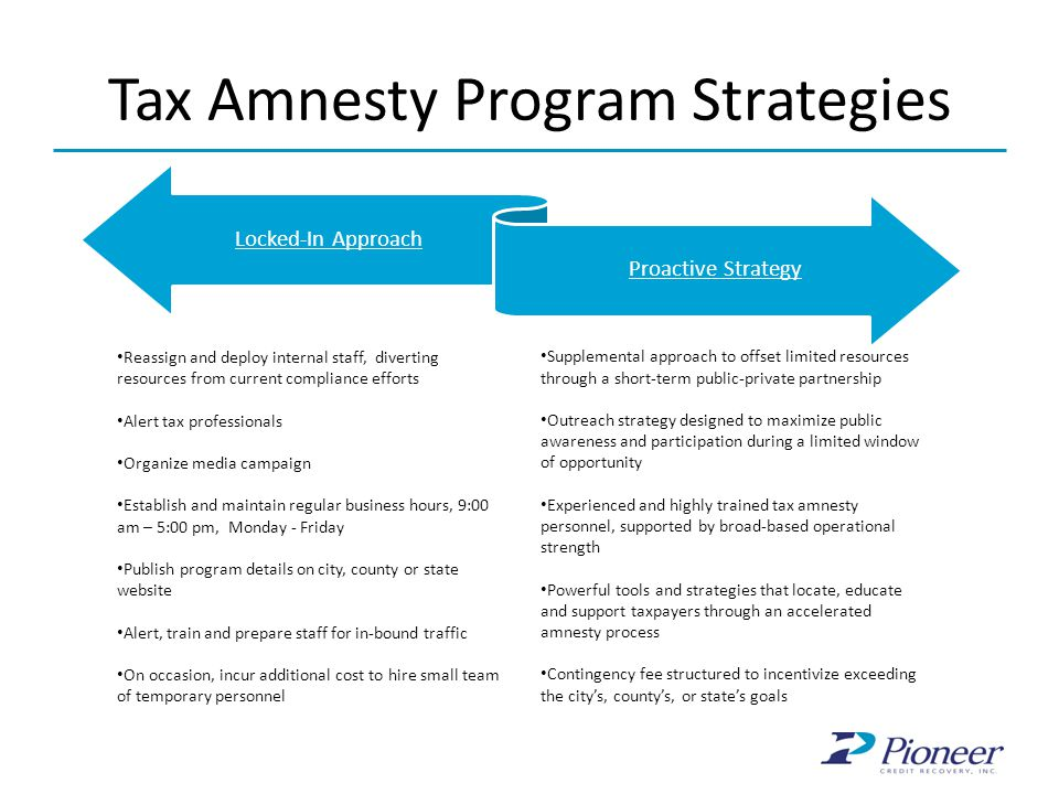 Tax Amnesty Program Strategies Locked-In Approach Proactive Strategy Reassign and deploy internal staff, diverting resources from current compliance e