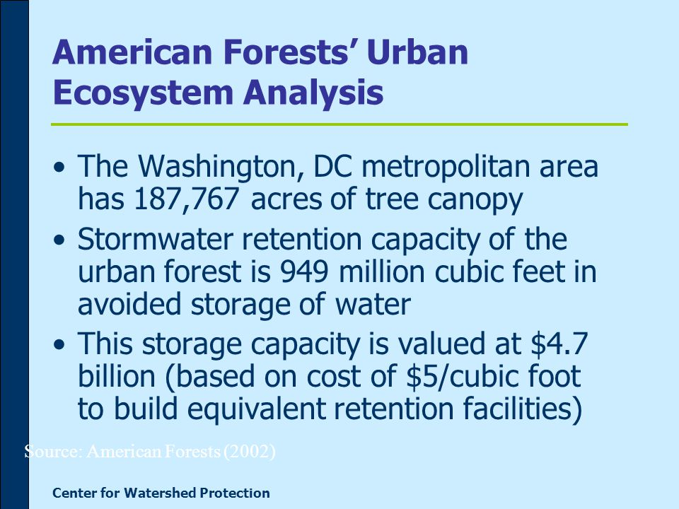 Center for Watershed Protection American Forests' Urban Ecosystem Analysis The Washington, DC metropolitan area has 187,767 acres of tree canopy Stormwater retention capacity of the urban forest is 949 million cubic feet in avoided storage of water This storage capacity is valued at $4.7 billion (based on cost of $5/cubic foot to build equivalent retention facilities) Source: American Forests (2002)