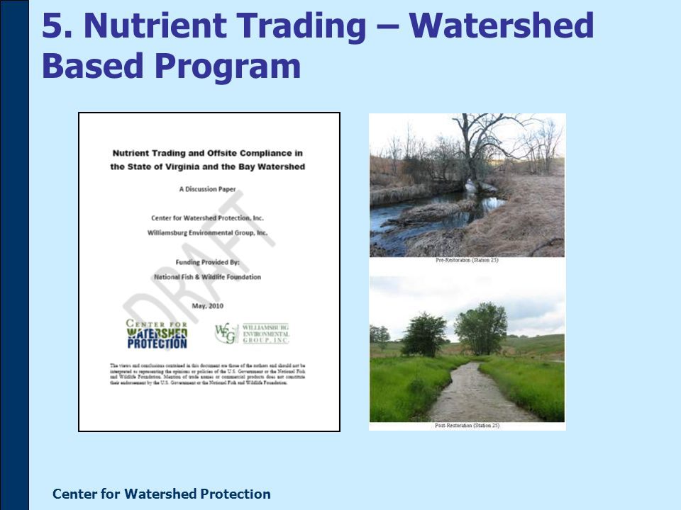 Center for Watershed Protection 5. Nutrient Trading – Watershed Based Program