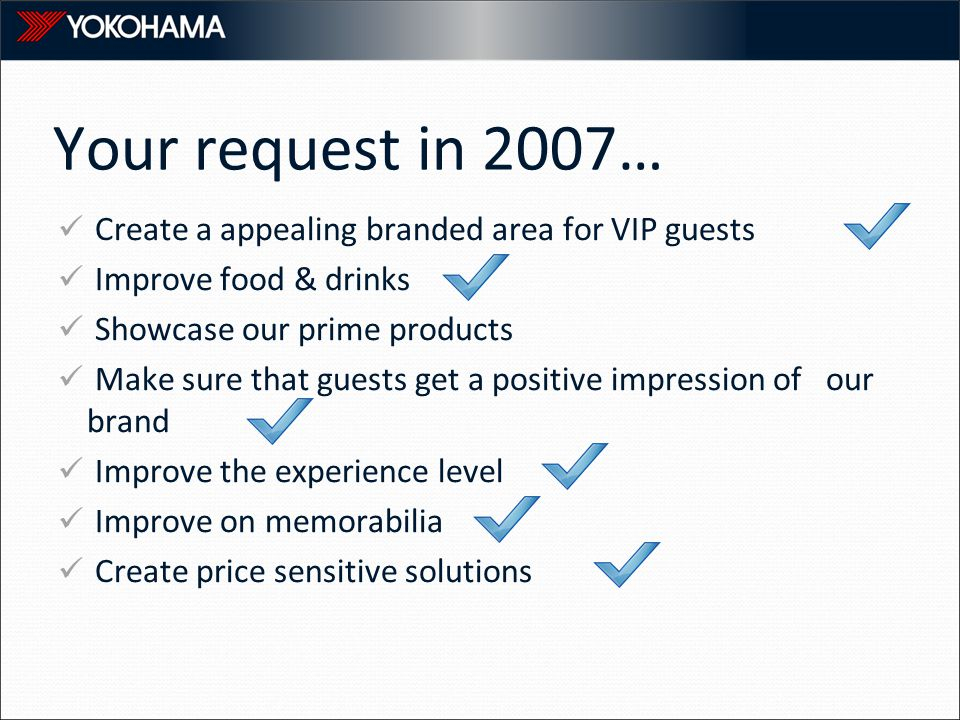 Your request in 2007… Create a appealing branded area for VIP guests Improve food & drinks Showcase our prime products Make sure that guests get a positive impression of our brand Improve the experience level Improve on memorabilia Create price sensitive solutions
