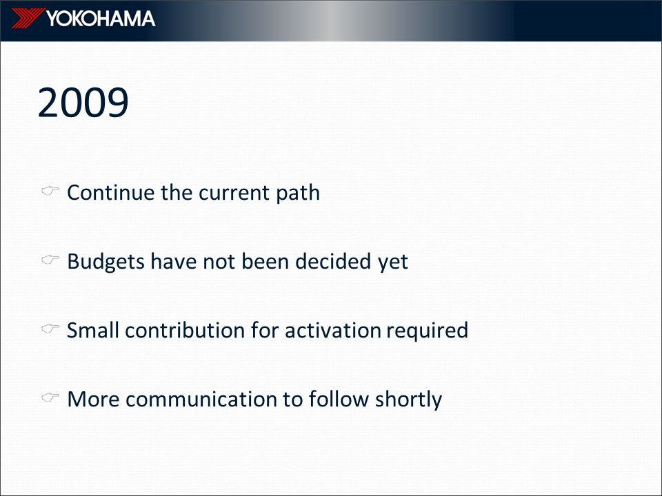 2009  Continue the current path  Budgets have not been decided yet  Small contribution for activation required  More communication to follow shortly