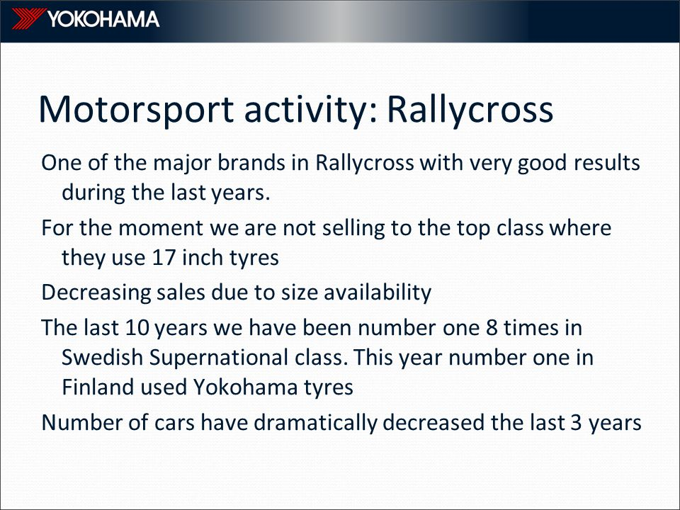Motorsport activity: Rallycross One of the major brands in Rallycross with very good results during the last years.