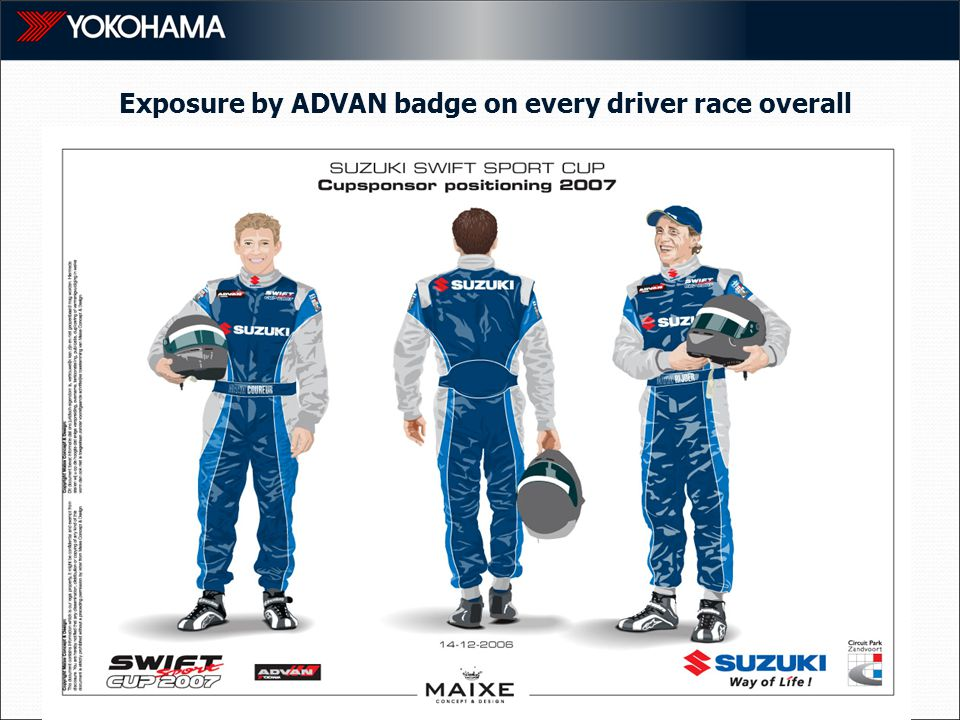 Exposure by ADVAN badge on every driver race overall