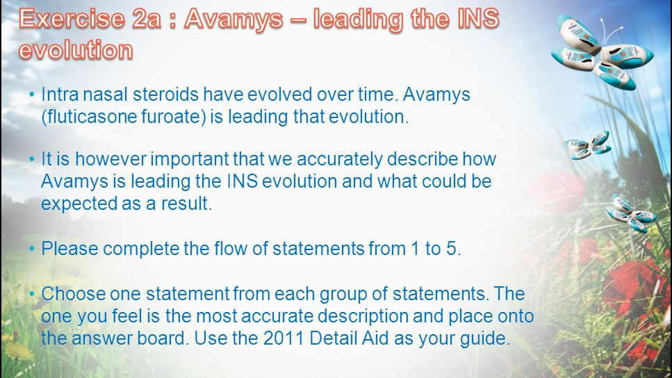 Intra nasal steroids have evolved over time. Avamys (fluticasone furoate) is leading that evolution. It is however important that we accurately descri