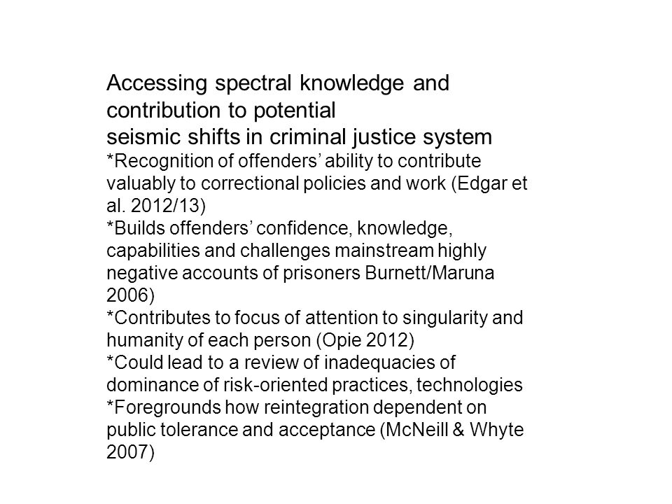 Accessing spectral knowledge and contribution to potential seismic shifts in criminal justice system *Recognition of offenders' ability to contribute valuably to correctional policies and work (Edgar et al.