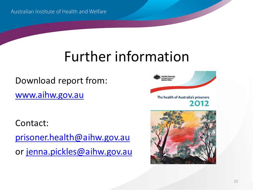 20 Further information Download report from: www.aihw.gov.au Contact: prisoner.health@aihw.gov.au or jenna.pickles@aihw.gov.aujenna.pickles@aihw.gov.au