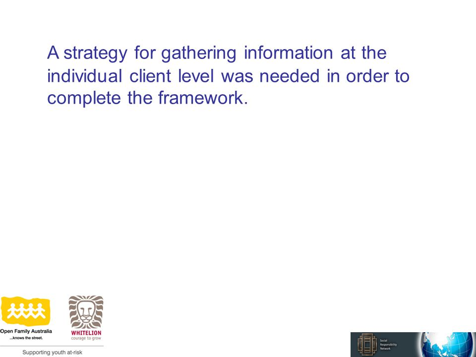 A strategy for gathering information at the individual client level was needed in order to complete the framework.