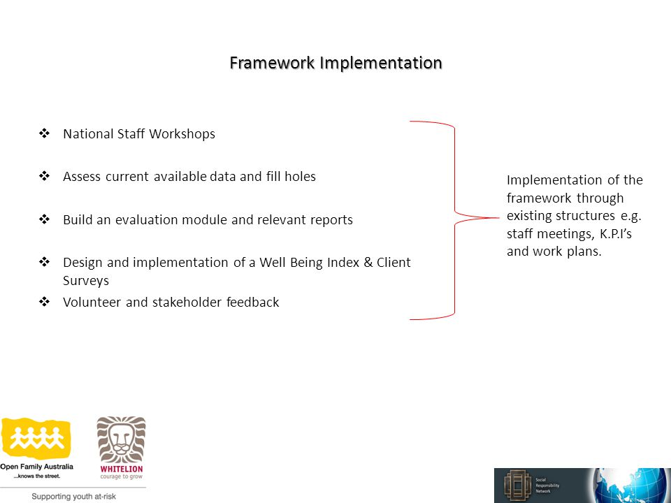 Framework Implementation  National Staff Workshops  Assess current available data and fill holes  Build an evaluation module and relevant reports  Design and implementation of a Well Being Index & Client Surveys  Volunteer and stakeholder feedback Implementation of the framework through existing structures e.g.