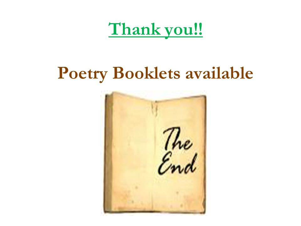 Thank you!! Poetry Booklets available