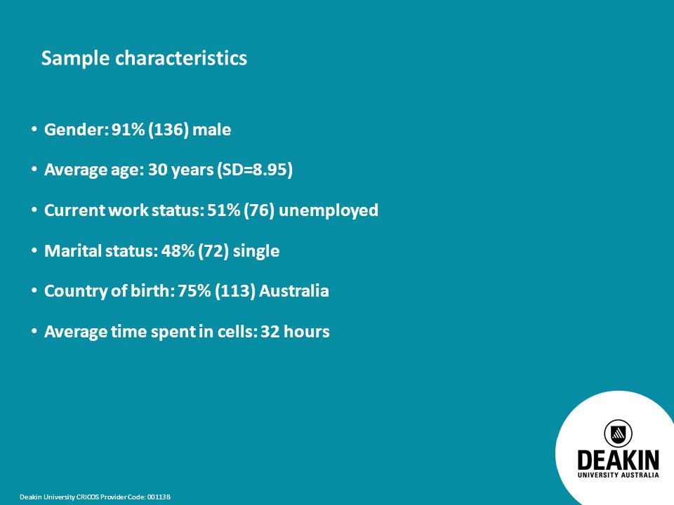 Deakin University CRICOS Provider Code: 00113B Sample characteristics Gender: 91% (136) male Average age: 30 years (SD=8.95) Current work status: 51% (76) unemployed Marital status: 48% (72) single Country of birth: 75% (113) Australia Average time spent in cells: 32 hours