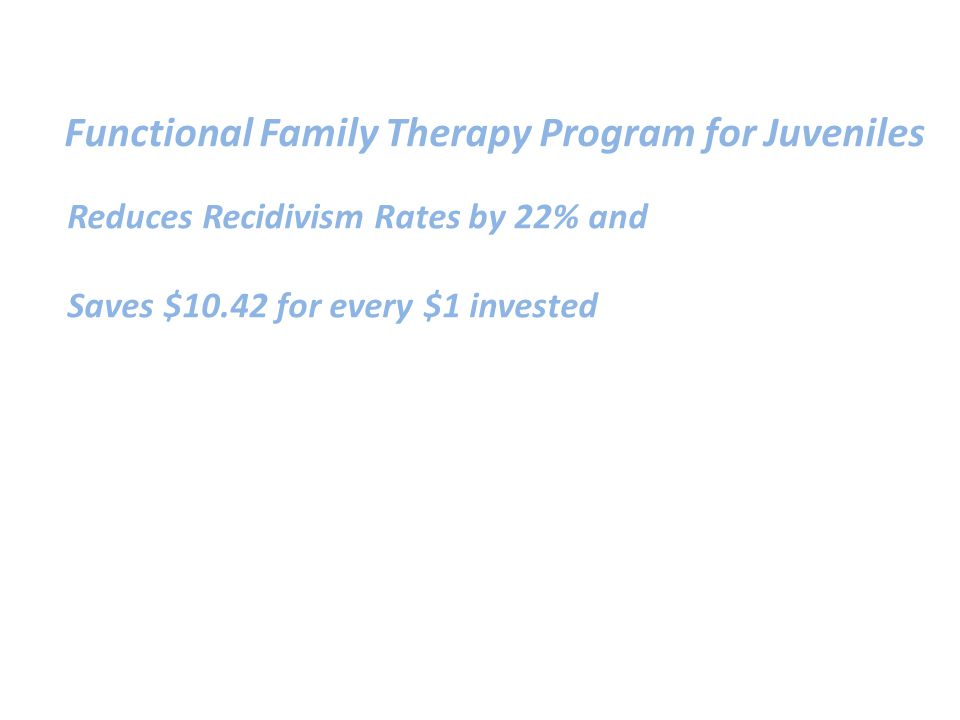 Reduces Recidivism Rates by 22% and Saves $10.42 for every $1 invested Functional Family Therapy Program for Juveniles
