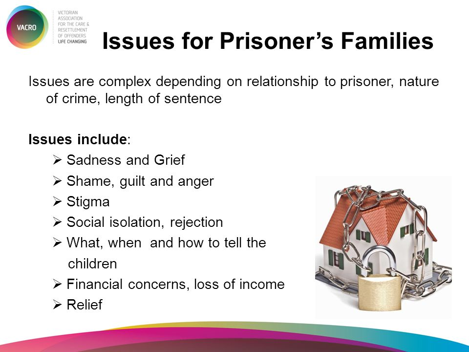 Issues for Prisoner's Families Issues are complex depending on relationship to prisoner, nature of crime, length of sentence Issues include:  Sadness