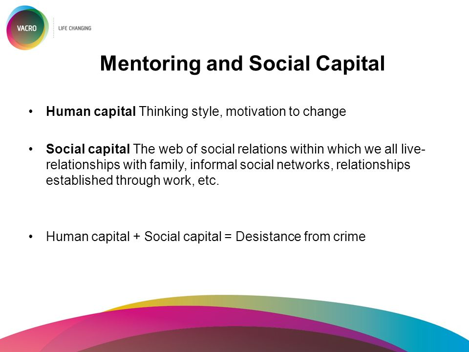 Mentoring and Social Capital Human capital Thinking style, motivation to change Social capital The web of social relations within which we all live- r