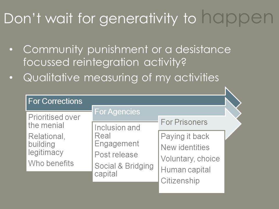 Don't wait for generativity to happen Community punishment or a desistance focussed reintegration activity? Qualitative measuring of my activities For