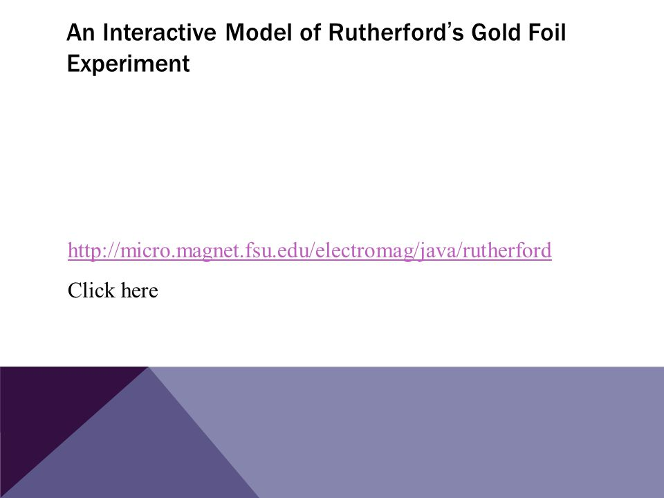 An Interactive Model of Rutherford ' s Gold Foil Experiment http://micro.magnet.fsu.edu/electromag/java/rutherford Click here