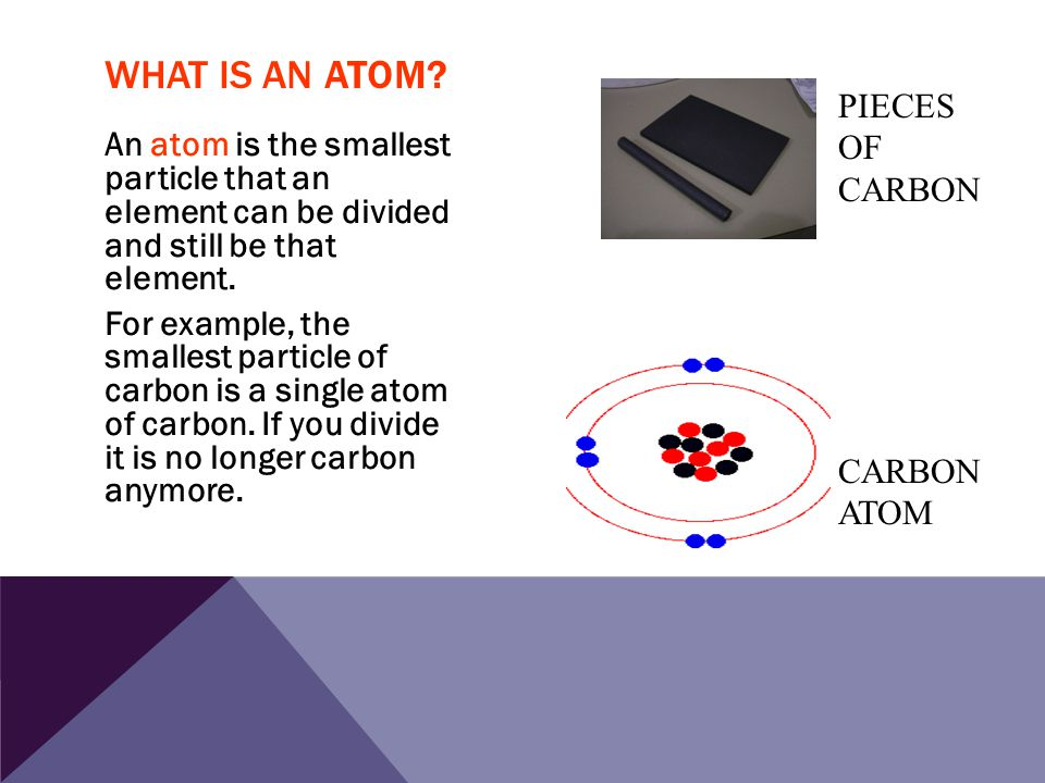 An atom is the smallest particle that an element can be divided and still be that element. For example, the smallest particle of carbon is a single at