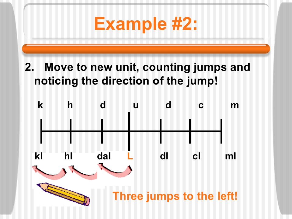 Example #2: 2. Move to new unit, counting jumps and noticing the direction of the jump! k h d u d c m kl hl dal L dl cl ml Three jumps to the left!