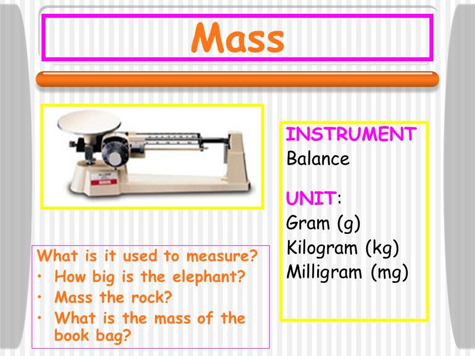 Regular Volume INSTRUMENT: Metric Ruler Meter Stick UNIT: cm 3 mL Volume = length x width x height **Do the math.