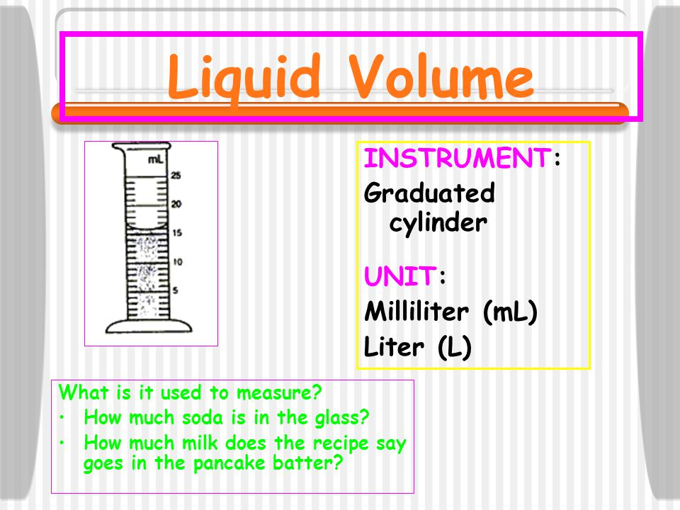 Liquid Volume INSTRUMENT: Graduated cylinder UNIT: Milliliter (mL) Liter (L) What is it used to measure? How much soda is in the glass? How much milk