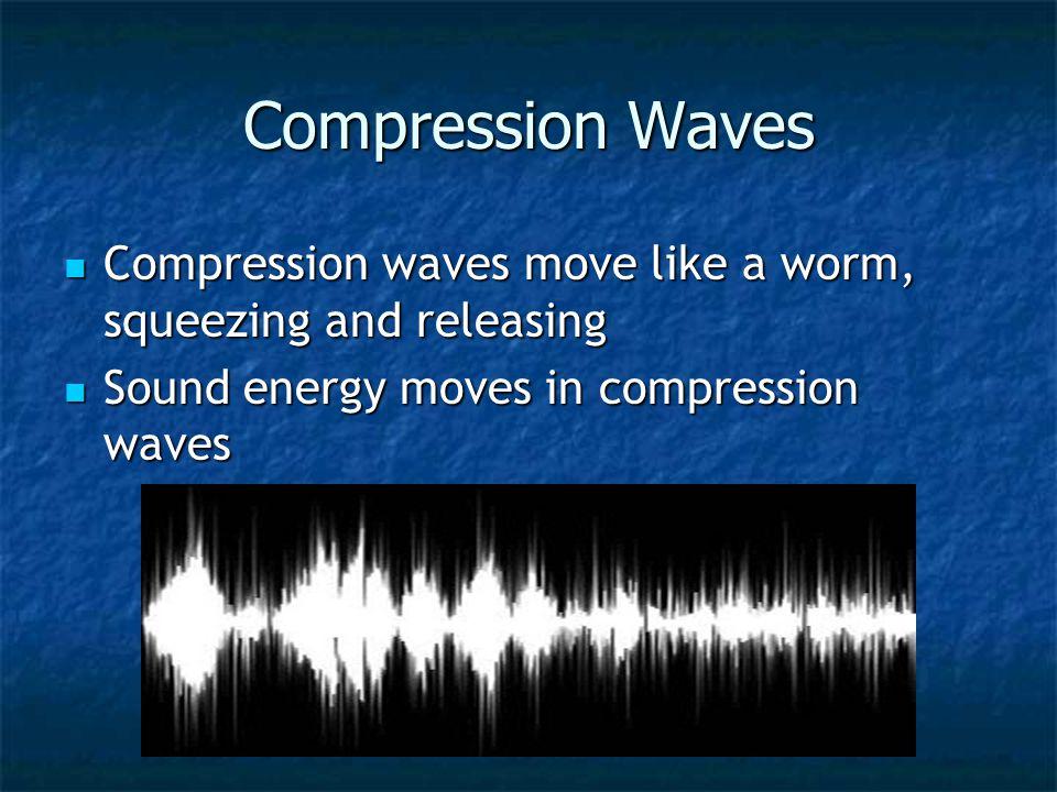 Longitudinal/Compression Waves – energy must move along the medium while traveling forward