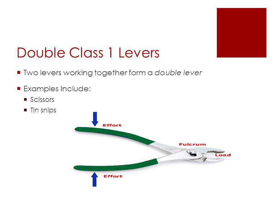 Double Class 1 Levers  Two levers working together form a double lever  Examples Include:  Scissors  Tin snips