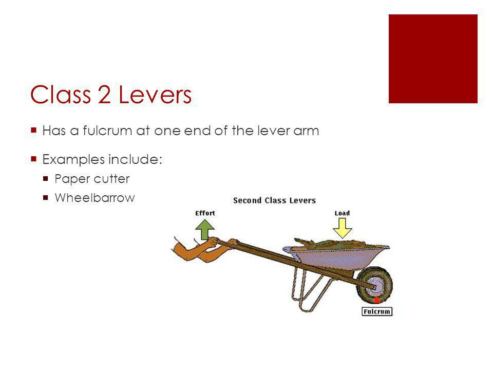  Has a fulcrum at one end of the lever arm  Examples include:  Paper cutter  Wheelbarrow