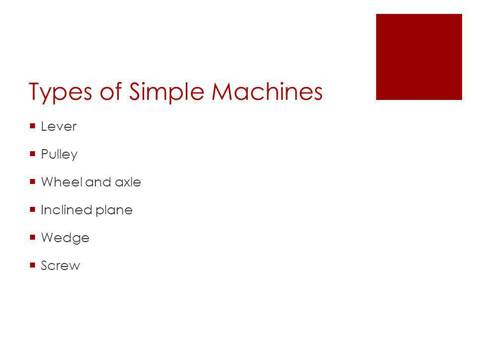 Types of Simple Machines  Lever  Pulley  Wheel and axle  Inclined plane  Wedge  Screw