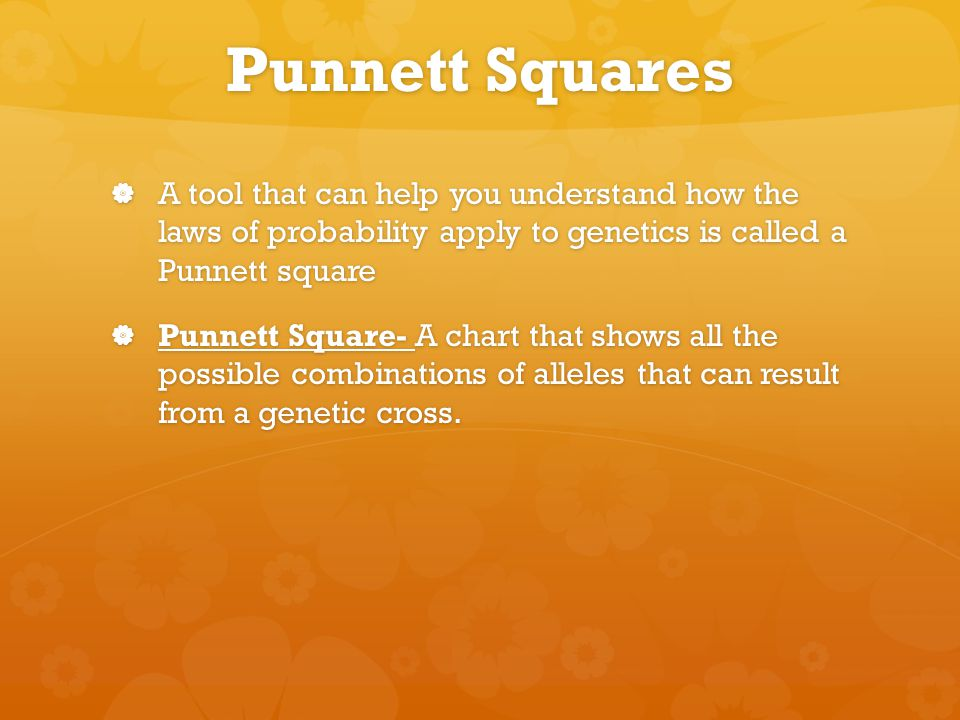 Punnett Squares  A tool that can help you understand how the laws of probability apply to genetics is called a Punnett square  Punnett Square- A chart that shows all the possible combinations of alleles that can result from a genetic cross.